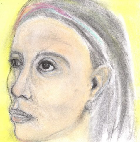 Pastel drawing of woman taken from Etruscan statuary