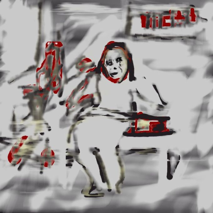 Digital drawing of woman and robotic figure on bus