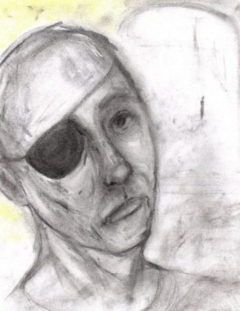 Uncollected Poems man wearing eye-patch by window art for poem Movie of the Week