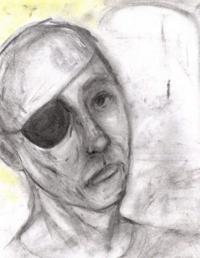 Charcoal and pastel drawing of eye-patch wearing man at window