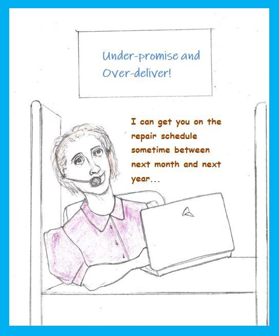 Cartoon of customer service clerk