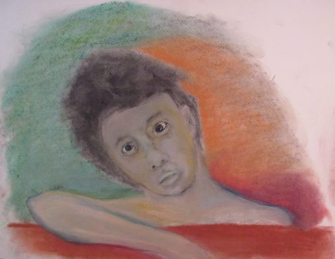 Pastel drawing of young man feeling bewildered and resigned