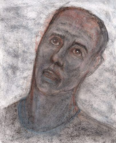 Uncollected Poems pastel and charcoal sketch of man with fed-up expression art for poem Working Overseas