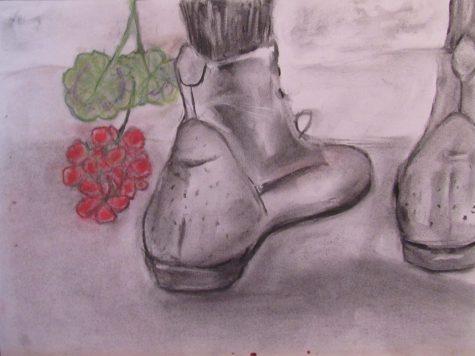 Pastel drawing of Edwardian stockinged legs and lace-up shoes falling geranium