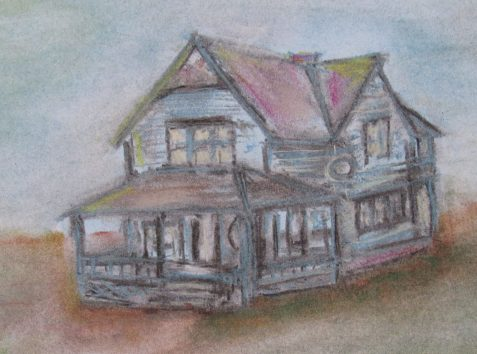 Pastel drawing of 1800s farmhouse