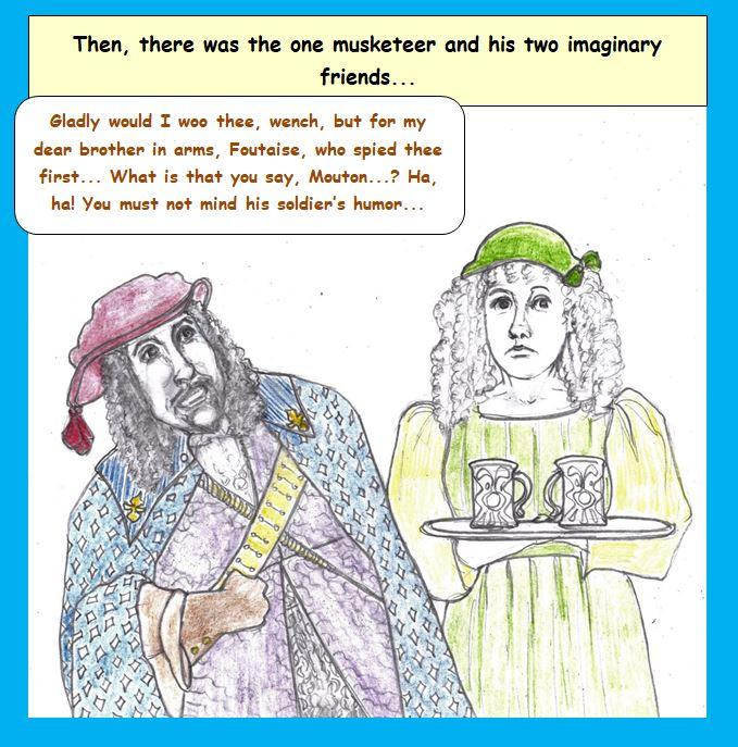 Cartoon of hallucinating Musketeer