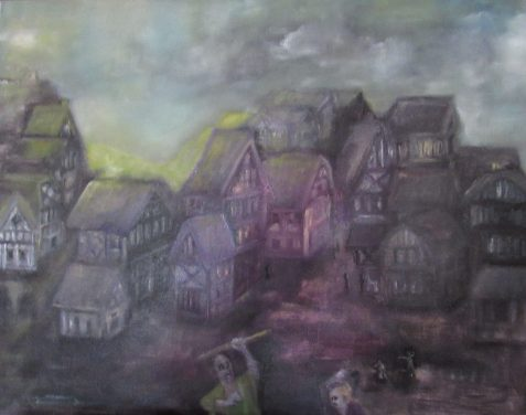 Oil painting of street riot in medieval town of timbered houses