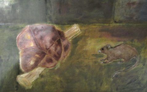 Oil painting of mutton joint and rat