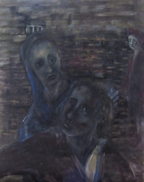 Oil painting with woman comforting injured prisoner