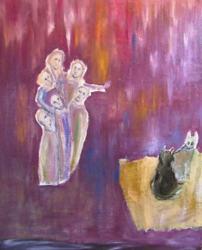 The Impresario medieval figures and fighting cats art for part twenty-five
