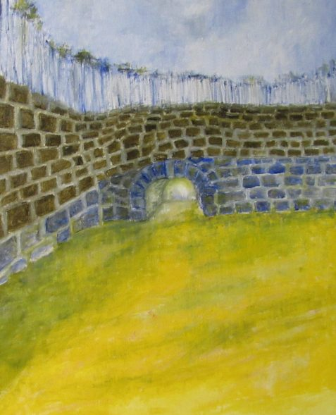 Oil painting of stone wall with tunnel entry
