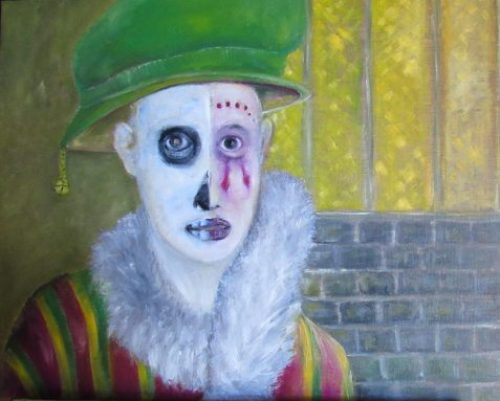 Oil painting of medieval strolling player half-face skull and half-face clown makeup