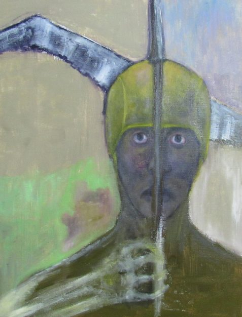 Oil Painting of knight holding spear in skeletal hand with albatross in backgroun