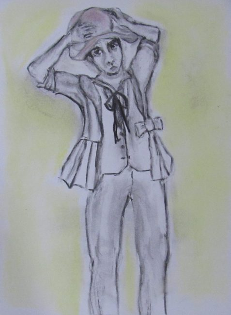 Charcoal and pastel drawing of Wake trying on woman's hat and jacket