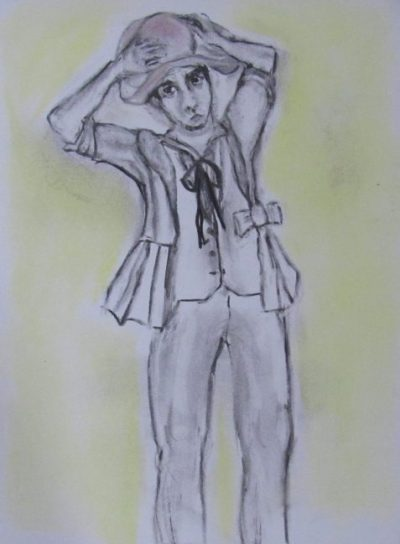 Wake man tries on woman's jacket and hat art for poem The Regent's Bastard's Grandson