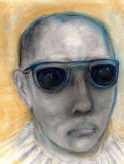 Pastel drawing of alienated young man in dark glasses