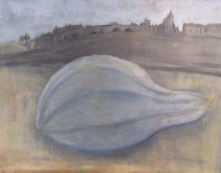 Mystery Plays hubbard squash in foreground castle in background from poem The Cook