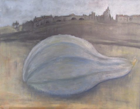 Oil painting of Hubbard squash with castle in background