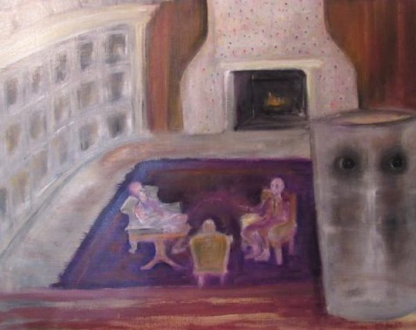 Oil painting with windowed wall three figures seated glass vase with eyes