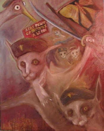 oil painting cats in military garb wielding weapons art for poem The Cause