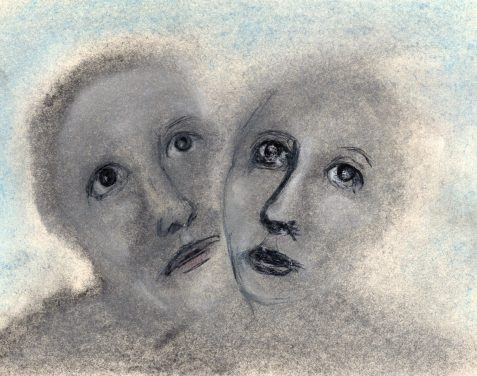 Pastel drawing of gender-neutral faces wearing cosmetics