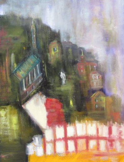 Oil painting of city on hillside