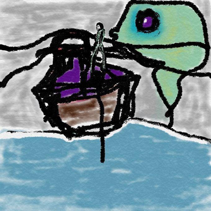 Digital drawing of fisherman and sea-creature