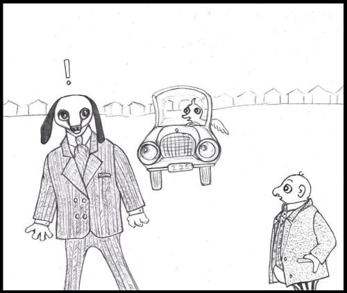 Cartoon style drawing of suited dog-eared man in danger from car-driving bird