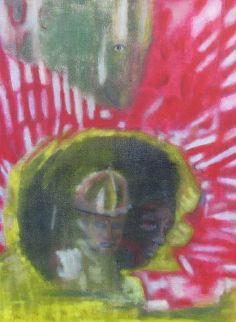Oil painting gold and cerise background five faces