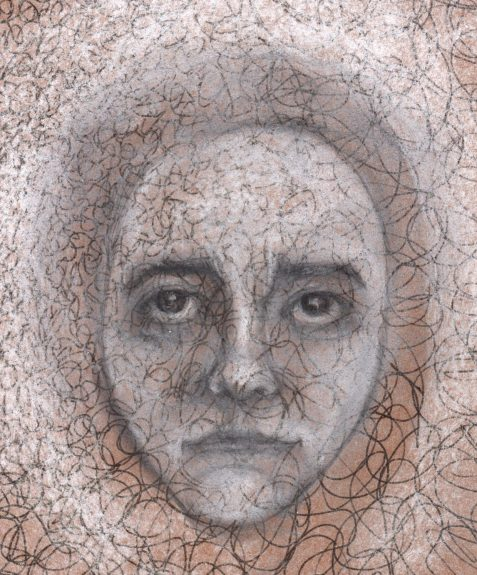 Pastel drawing ghostly face of retribution