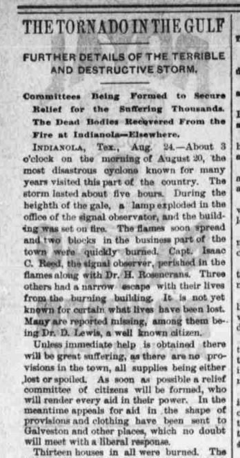 "Newspaper clipping of ""tornado"" in Indianola, Texas, really hurricane"