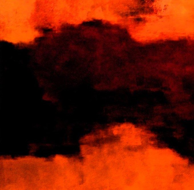 Oil Painting with digital enhancement glowing orange red and black