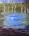 Oil painting of white barked trees and water soaked field