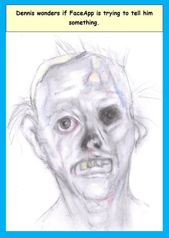 Cartoon of man's unpleasing results from FaceApp