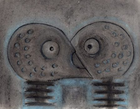 Pastel and ink drawing of two robots