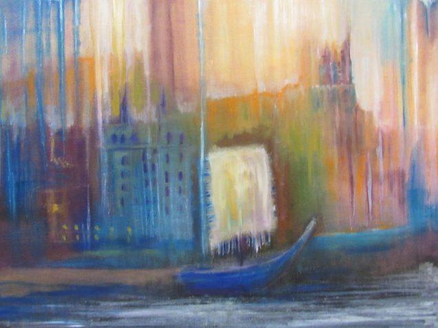 Oil painting of harbor scene