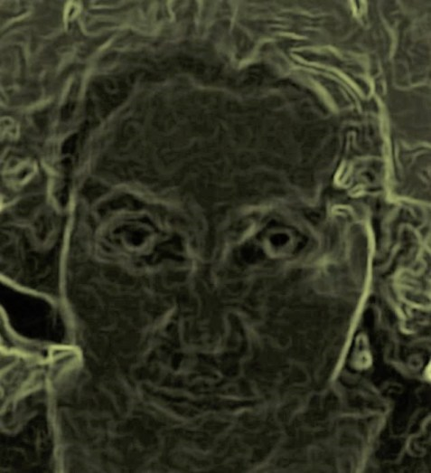 Digitalized photo of green face