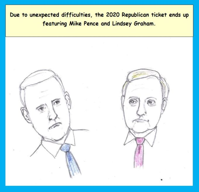 Cartoon of Mike Pence and Lindsey Graham