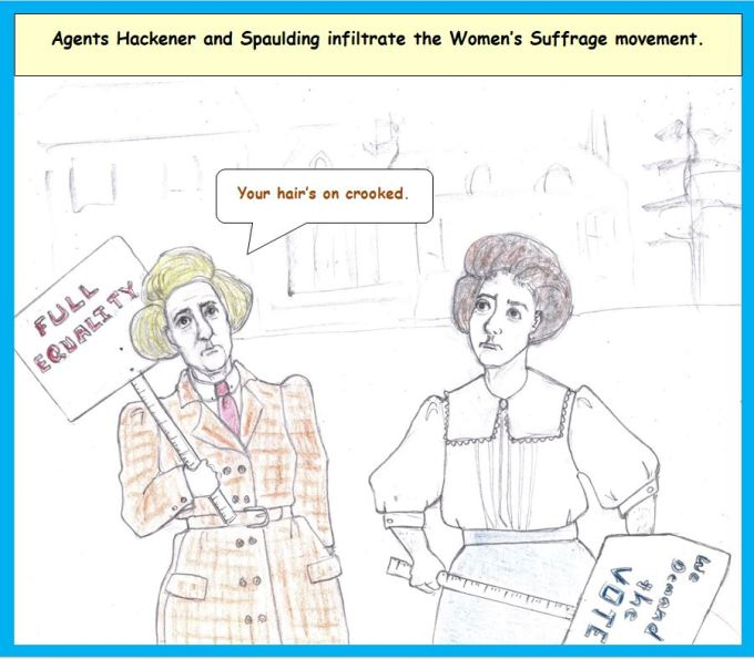 Cartoon of undercover agents dressed as suffragists