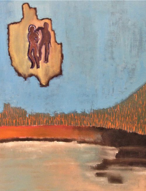 Oil painting of figures and volcanic lake