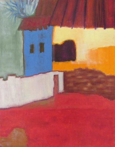 Oil painting of houses in primary colors