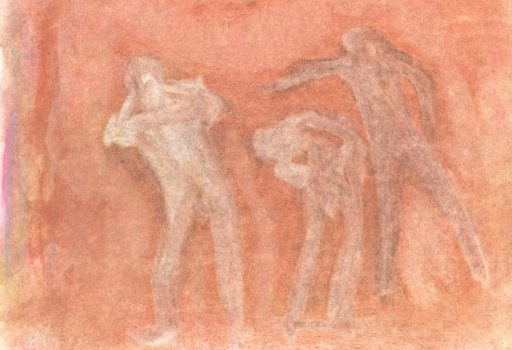 Pastel drawing of figures on red-orange ground