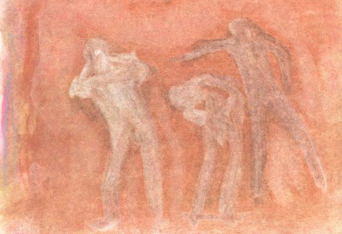 Pastel drawing of figures on red-orange ground