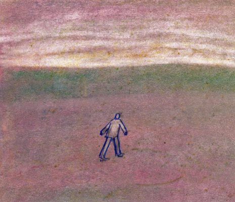 Pastel drawing of figure walking