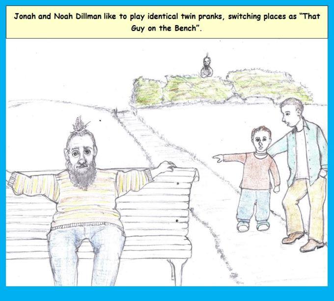 Cartoon of man on park bench