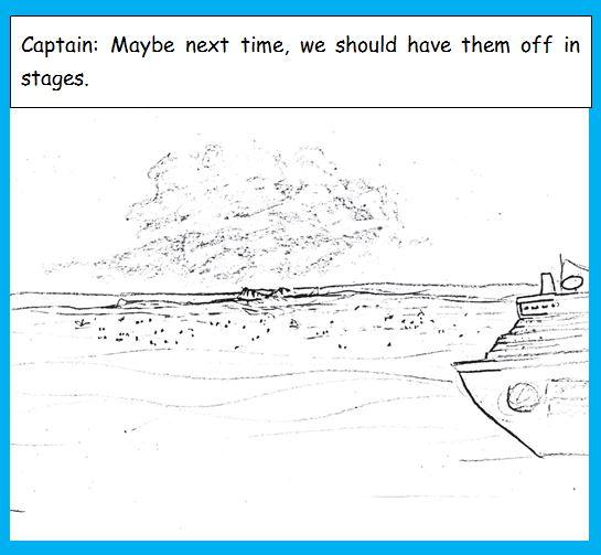 Cartoon of sunken island