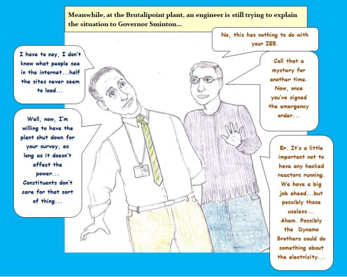 Cartoon of governor and engineer