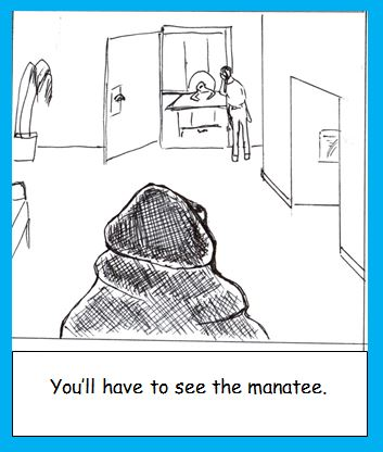 Cartoon of manatee in waiting room