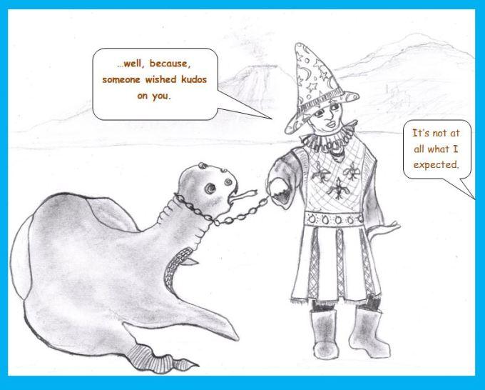 Cartoon of beast and handler