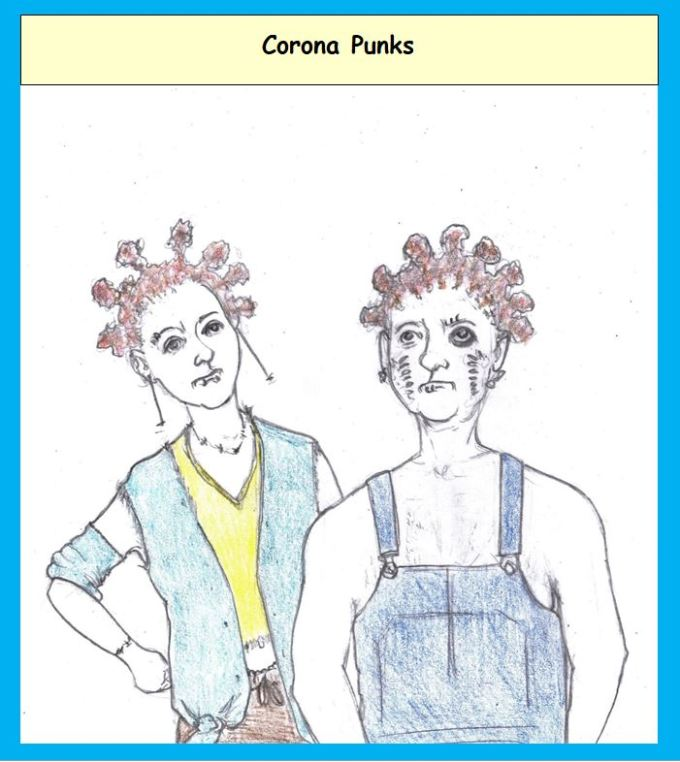Cartoon of punks with coronavirus hairstyles